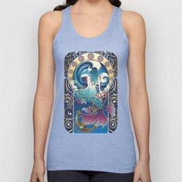 Blue Mermaid with anchor art nouveau design Unisex Tank Top