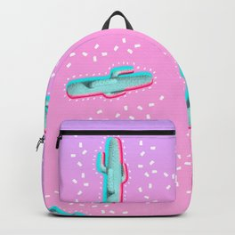 Modern 3d pink blue color channel cactus photography pink purple gradient 90's Backpack