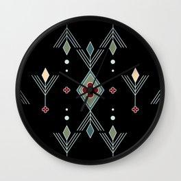 Diamond and Red Rosette Geometric Wall Clock