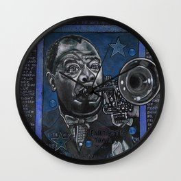 Louis Armstrong in Blue Wall Clock