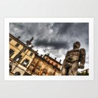 hercules Art Prints featuring Hercules' statue by Roberto Pagani