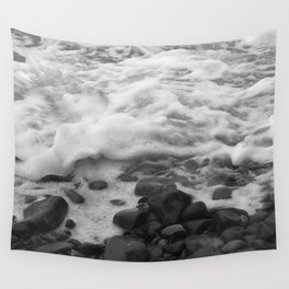 White Waves on Black Rocks Photographic Print Wall Tapestry