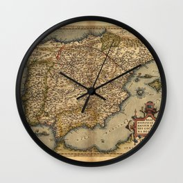 Antique Map of Spain, by Abraham Ortelius, circa 1570 Wall Clock