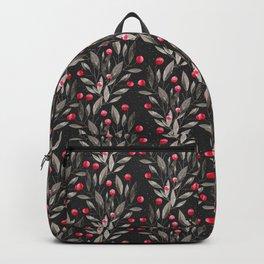 Modern pink red gray watercolor leaves berries pattern Backpack