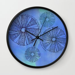 Blue Sea Urchin Wall Clock