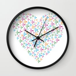 colorful heart of crosses Wall Clock