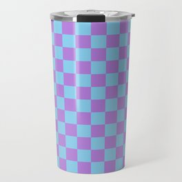 Lavender Violet and Baby Blue Checkerboard Travel Mug