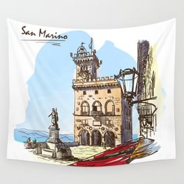 Sketches from Italy - San Marino Wall Tapestry