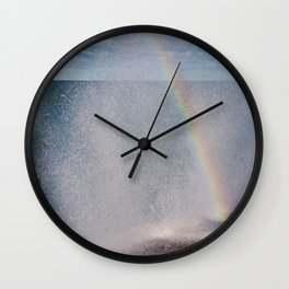 Lake Michigan Natural Fountains #5 - Sunbow (Chicago Waves Collection) Wall Clock
