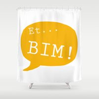 et Shower Curtains featuring Et bim! by Kanari Raspberry
