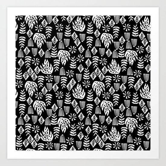 Tropical linocut tribal island pattern scandinavian art print black and white minimal Art Print