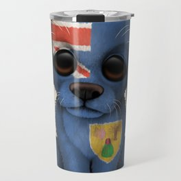 Cute Puppy Dog with flag of Turks and Caicos Travel Mug