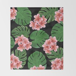 Tropical Floral Print Black Throw Blanket