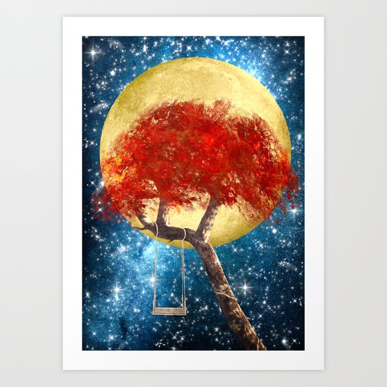Swing Under a Golden Moon Art Print