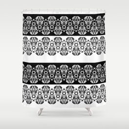 Black and white lace pattern . Shower Curtain