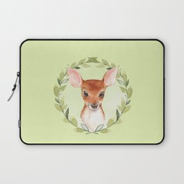 Fawn with green wreath Laptop Sleeve