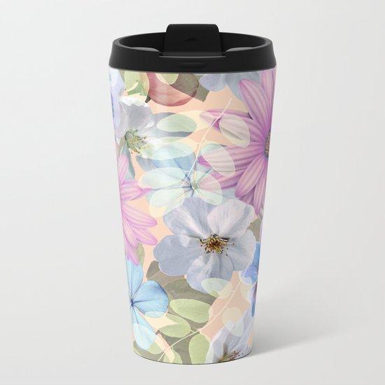 Pink and blue floral pattern Metal Travel Mug
