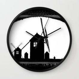 Windmill At Dusk Wall Clock