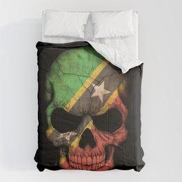 Dark Skull with Flag of Saint Kitts Comforters
