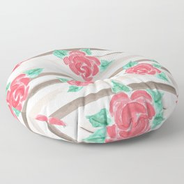 Stripes and Roses // Watercolor Floor Pillow