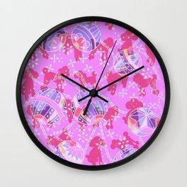 Japanese handball and puppy Wall Clock