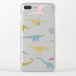 Colorful dinos pattern Clear iPhone Case