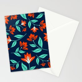 Japanese Floral Print - Red and Navy Blue Stationery Cards