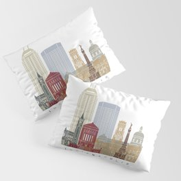 Indianapolis skyline poster Pillow Sham