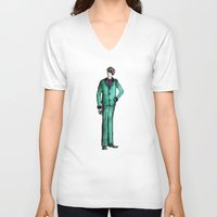 givenchy V-neck T-shirts featuring Beetles Green Dandy by Notsniw