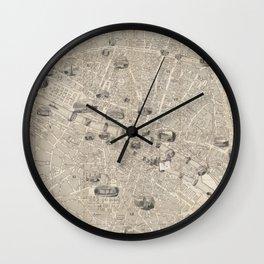 Vintage Map of Paris France (1841) Wall Clock