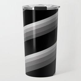 Simple black and white striped pattern . Oblique stripes . Travel Mug