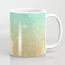 Aqua teal abstract gold ombre glitter Coffee Mug