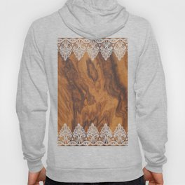 Brown Faux Wood& White Vintage Lace Hoody