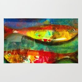 Colourful Expressionist Sardines Rug