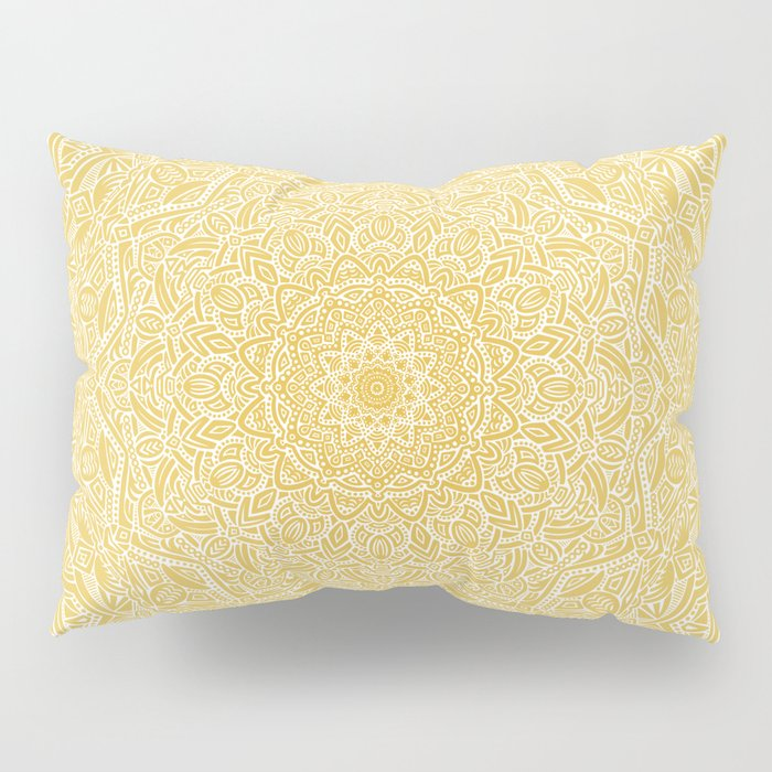 Most Detailed Mandala! Yellow Golden Color Intricate Detail Ethnic Mandalas Zentangle Maze Pattern Pillow Sham