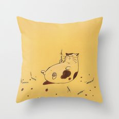 Happy Birthday fat cat '^^) Throw Pillow