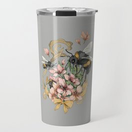Bumblebees with florals and ribbons Travel Mug