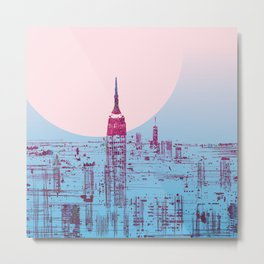 Sun In The City Skyline Design Metal Print
