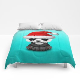 Christmas Panda Bear Wearing a Santa Hat Comforters
