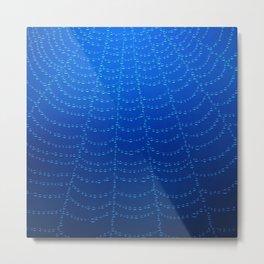 Blue Spider Web Metal Print