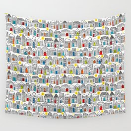 Happy Day in the City // Home Sweet Home in Quirky Neighborhood with Bright Smiling Sun Wall Tapestry