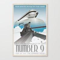 grim fandango Canvas Prints featuring Grim Fandango Vintage Travel Posters - The Number Nine by David MacKenzie