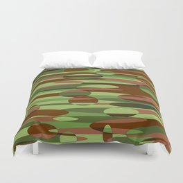 Trendy Green and Brown Camouflage Spheres Duvet Cover
