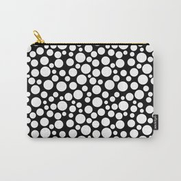 White polka dots on a black background. Carry-All Pouch
