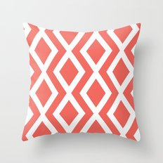 Coral Diamond Throw Pillow