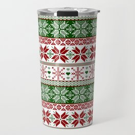 Green & Red Winter Fair Isle Travel Mug