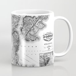 Vintage Map of Boston Massachusetts (1871) BW Coffee Mug