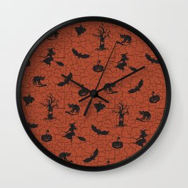 Halloween pattern on crackle orange background Wall Clock