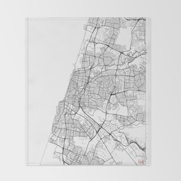 Tel Aviv Map White Throw Blanket