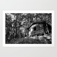cabin Art Prints featuring cabin by imikedunphy
